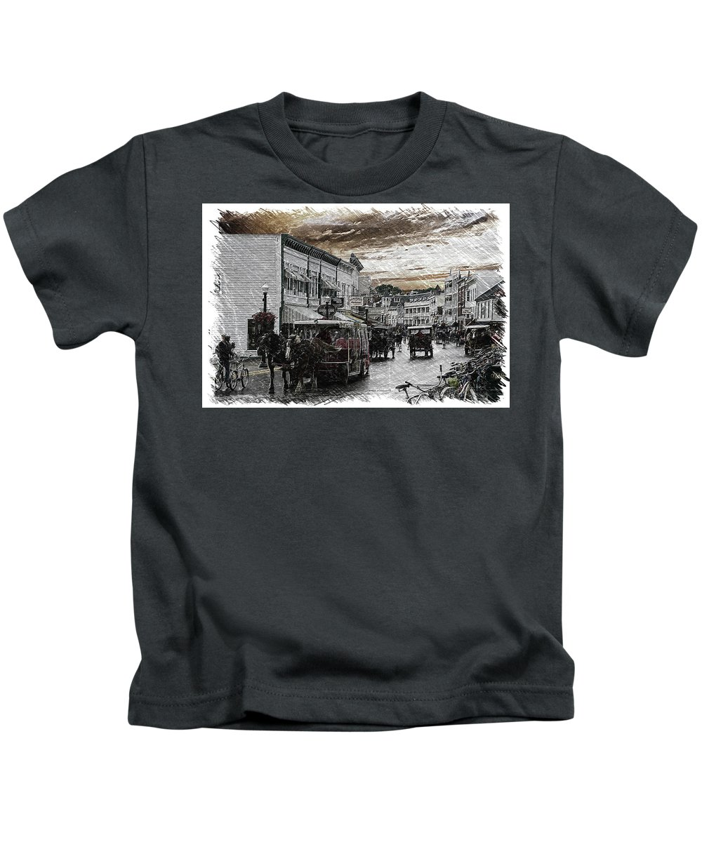 Mackinac Kids T-Shirt featuring the photograph Mackinac Island Michigan Bikes Horses And Walking Pa 01 by Thomas Woolworth