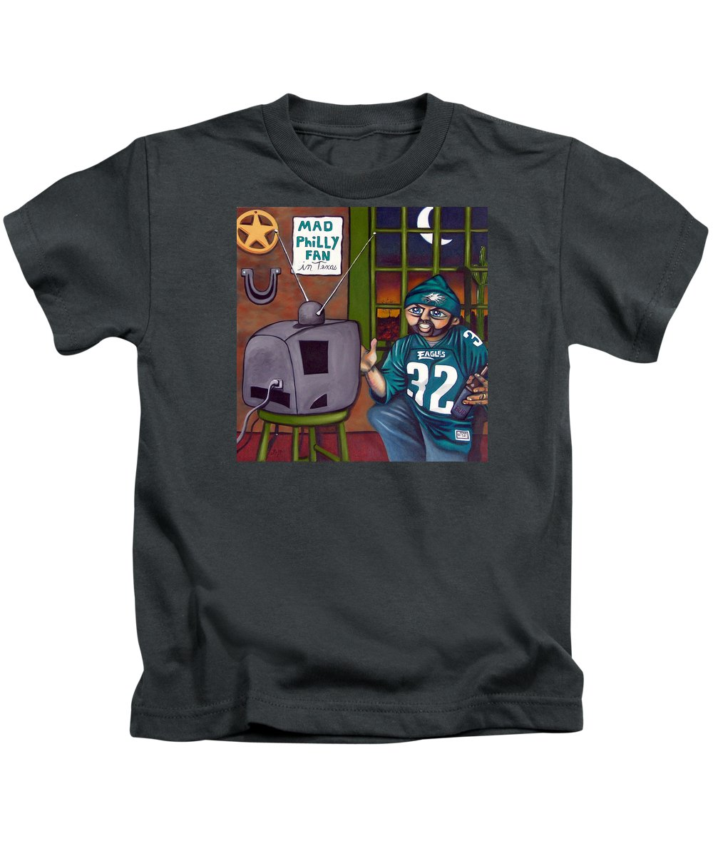 Philadelphia Kids T-Shirt featuring the painting Mad Philly Fan In Texas by Elizabeth Lisy Figueroa