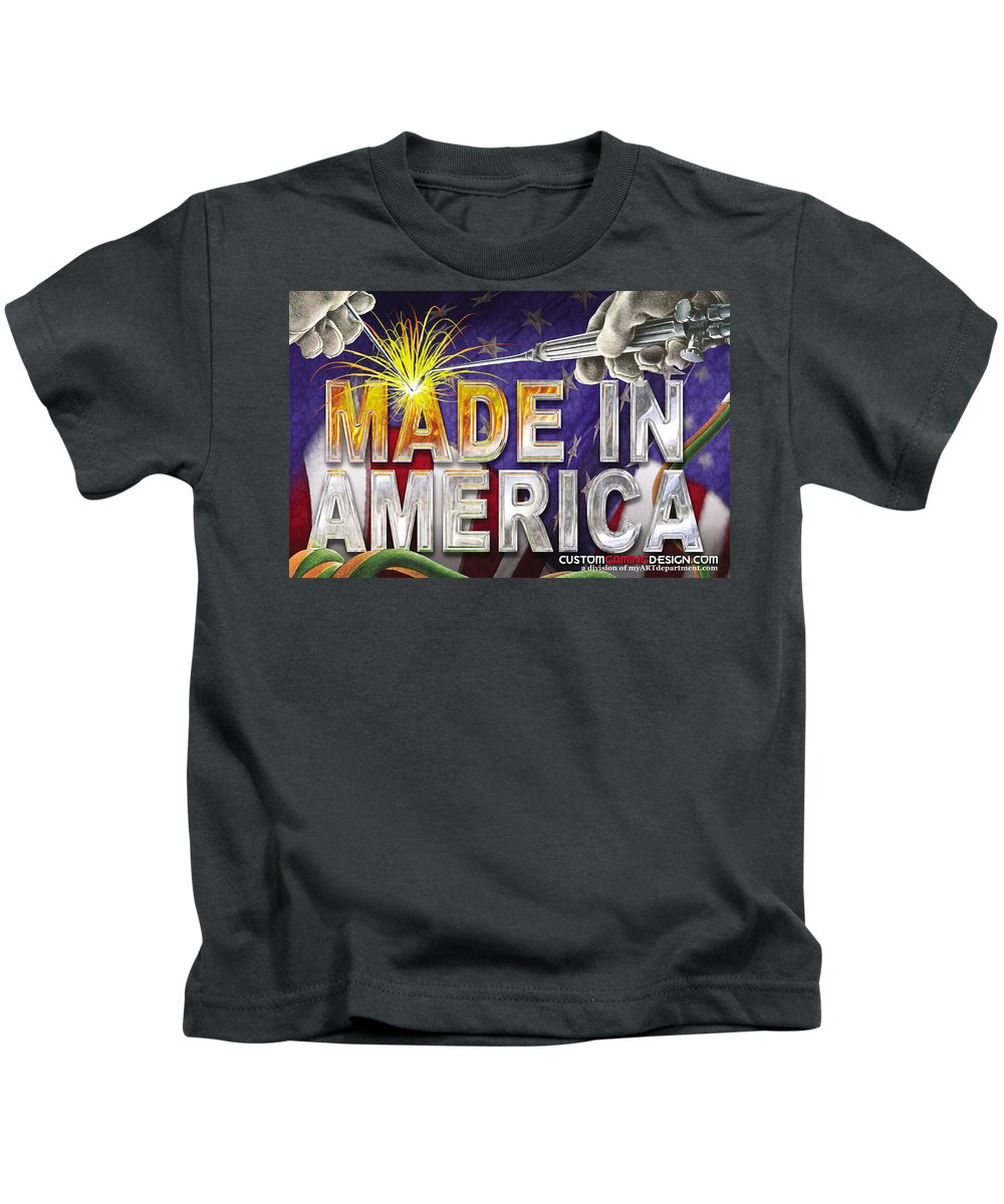 Made In America Kids T-Shirt featuring the digital art Made In America by Cindy D Chinn