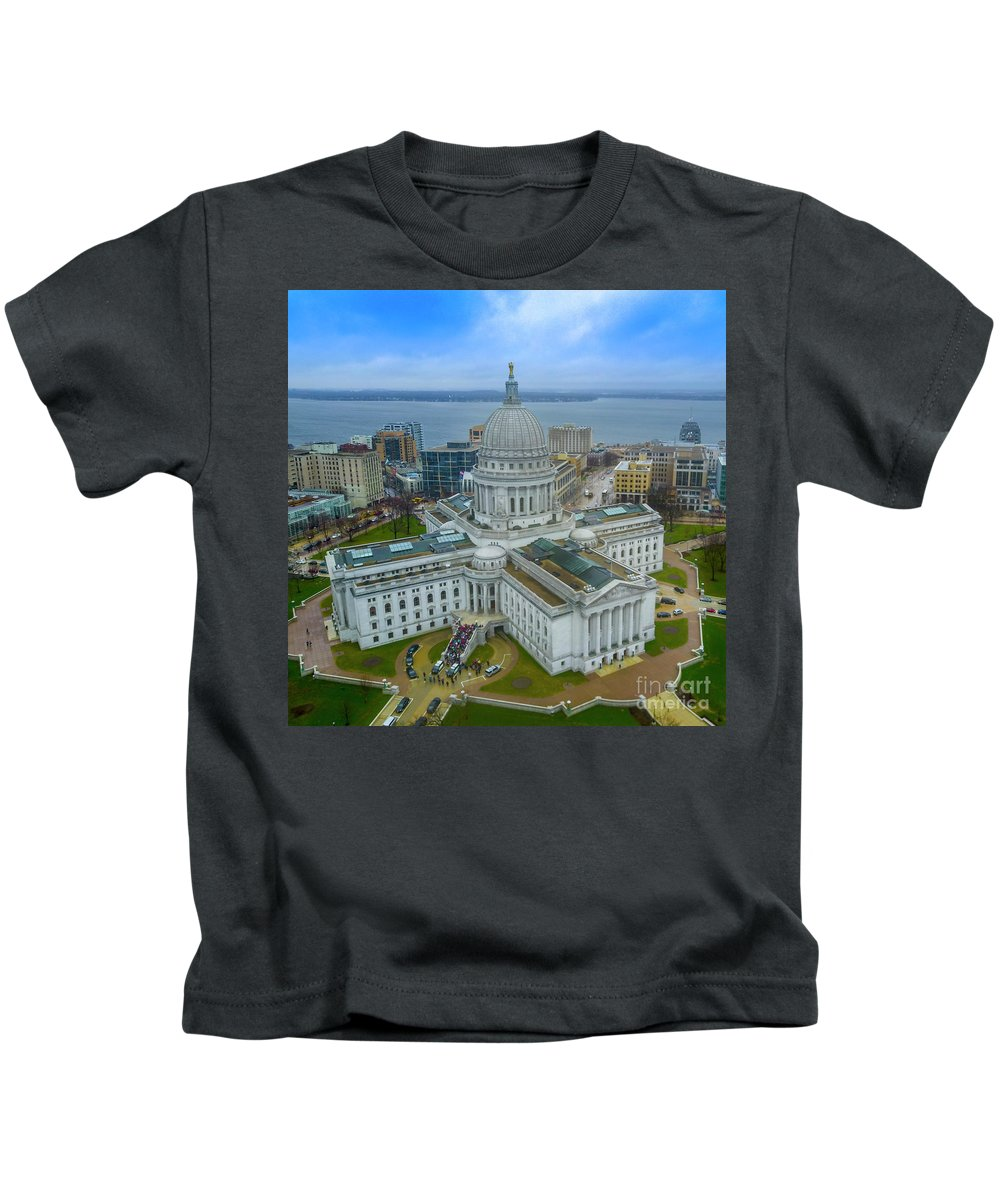 Madison Kids T-Shirt featuring the photograph Madison Wisconsin by Randy Kostichka