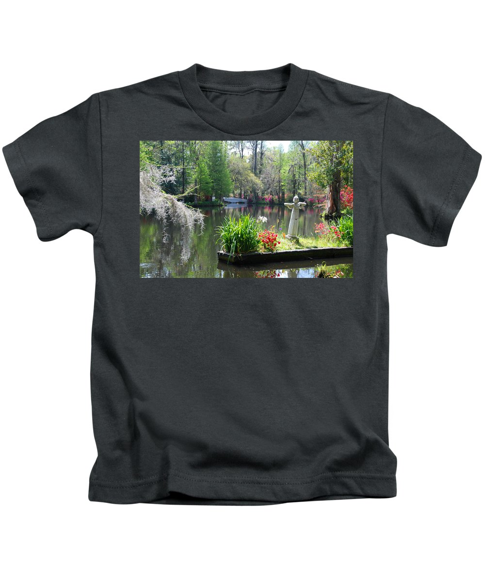Photography Kids T-Shirt featuring the photograph Magnolia Gardens In Charleston by Susanne Van Hulst