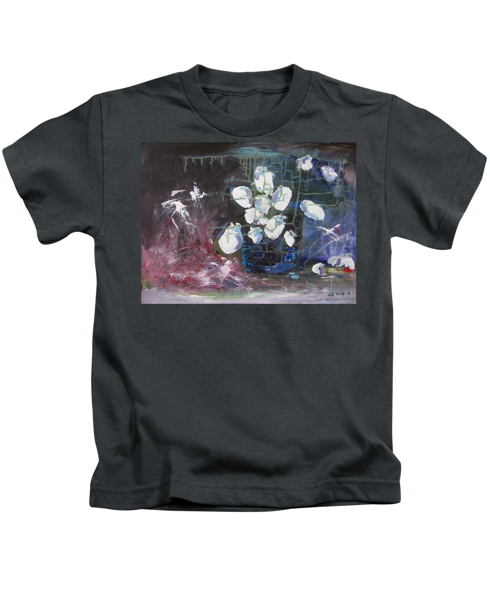 Abstract Paintings Kids T-Shirt featuring the painting Magnolia by Seon-Jeong Kim