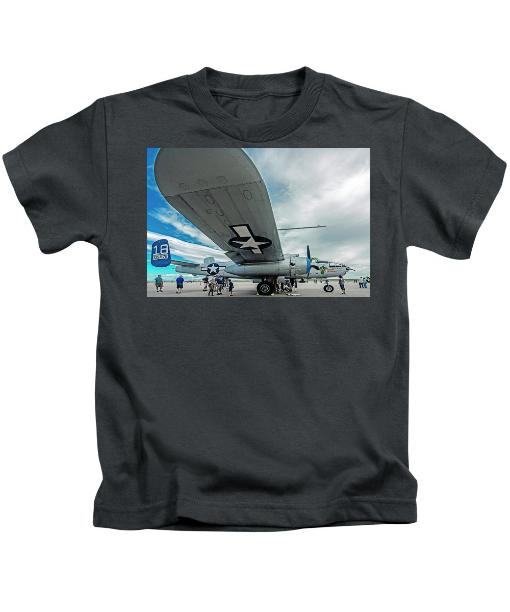 Commemorative Air Force Kids T-Shirt featuring the photograph Maid In The Shade by John Bartelt