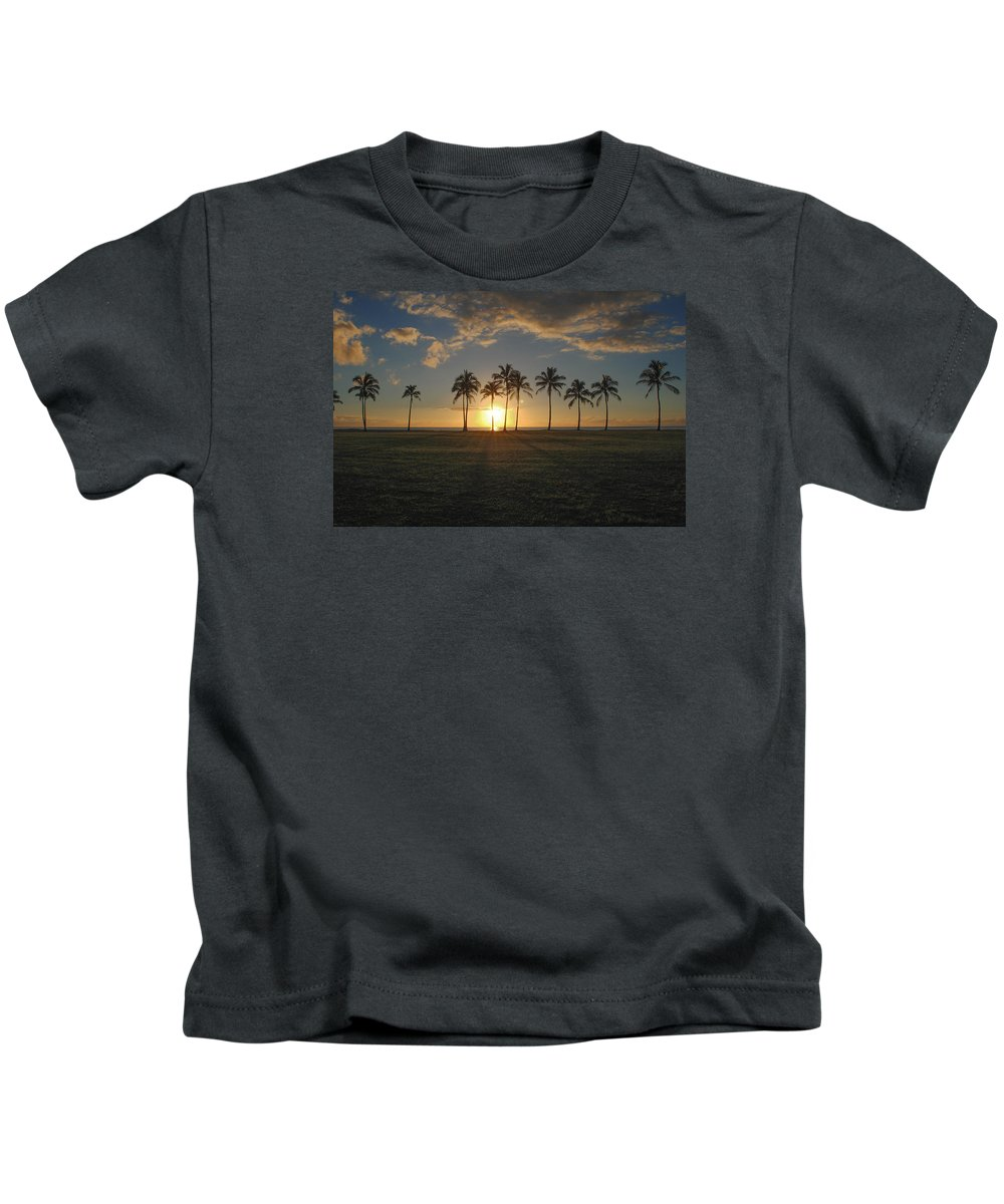 Maili Kids T-Shirt featuring the photograph Maili Sunset by Megan Martens