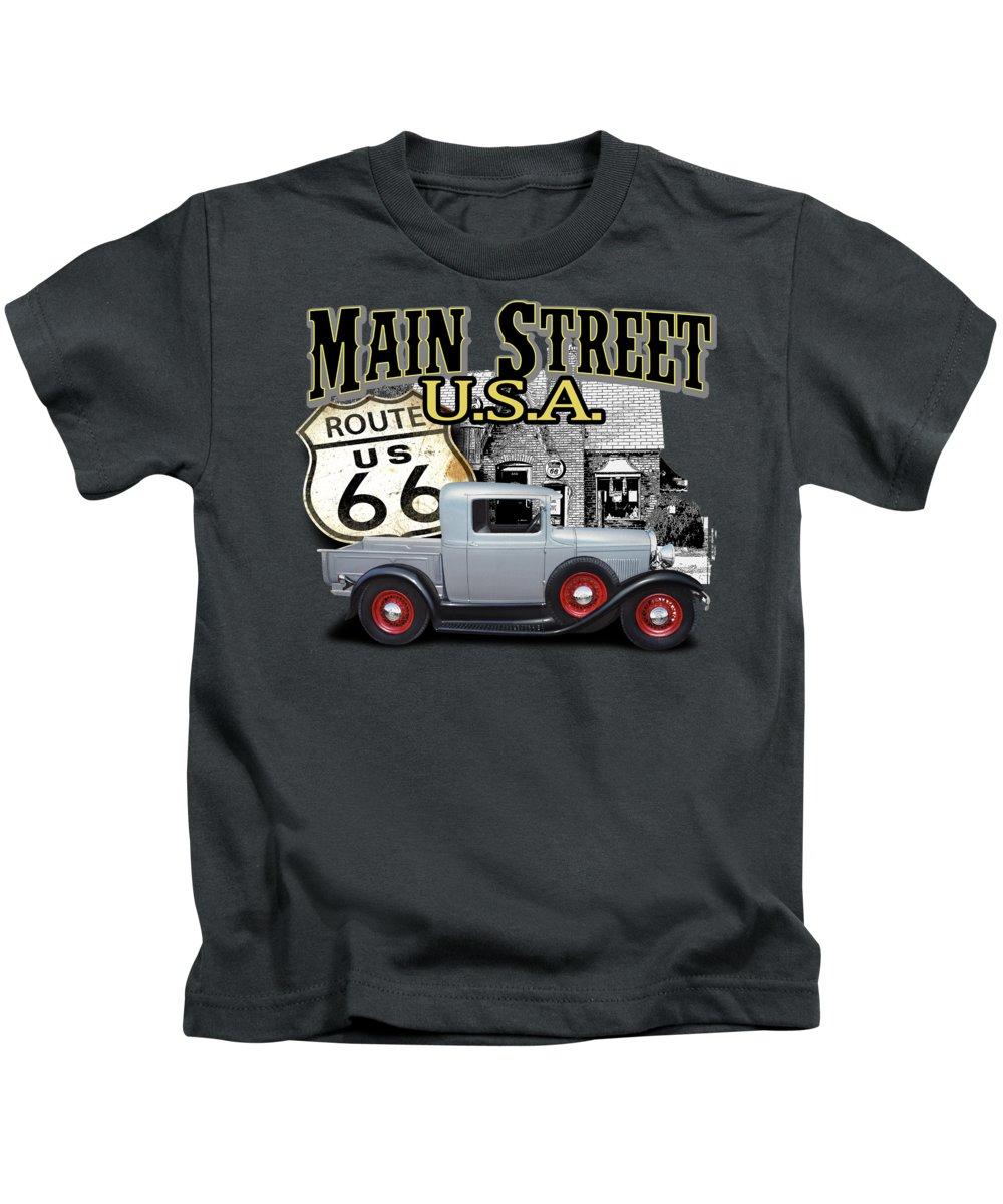 Main Kids T-Shirt featuring the digital art Main Street Rod by Paul Kuras