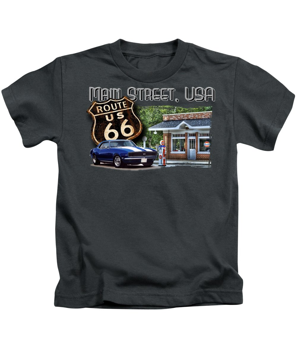 Route 66 Kids T-Shirt featuring the digital art Main Street, Usa Camaro by Paul Kuras