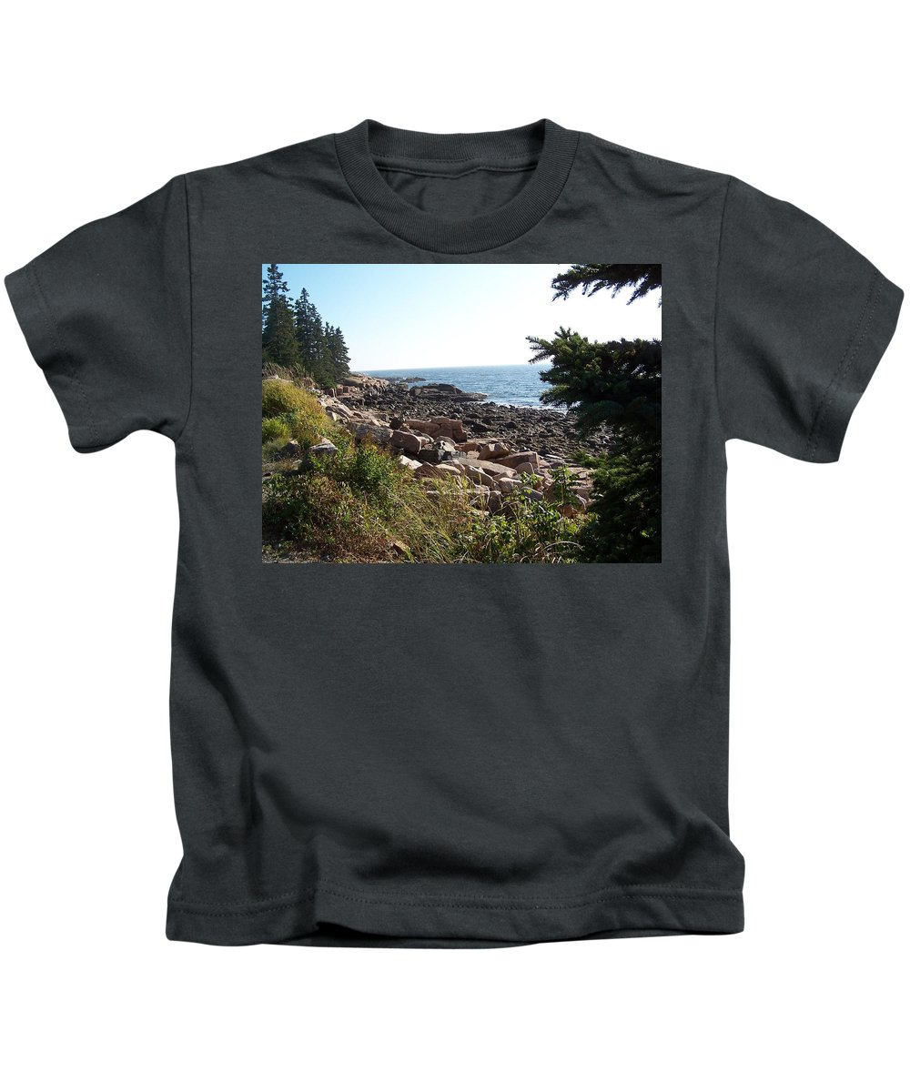 Maine Kids T-Shirt featuring the photograph Maine Atlantic Ocean Coast by Holly Eads