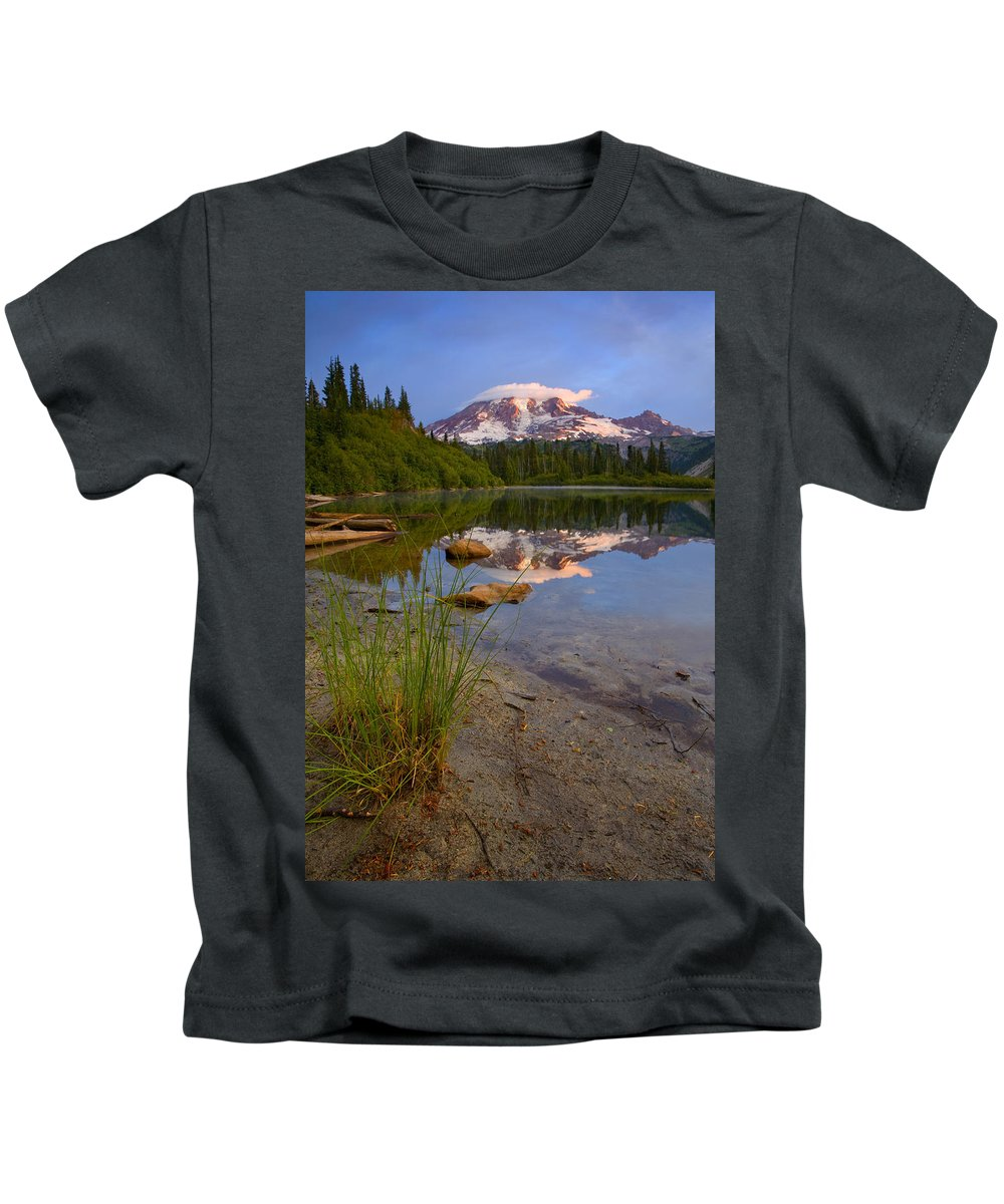 Mt. Rainier Kids T-Shirt featuring the photograph Majestic Glow by Mike Dawson