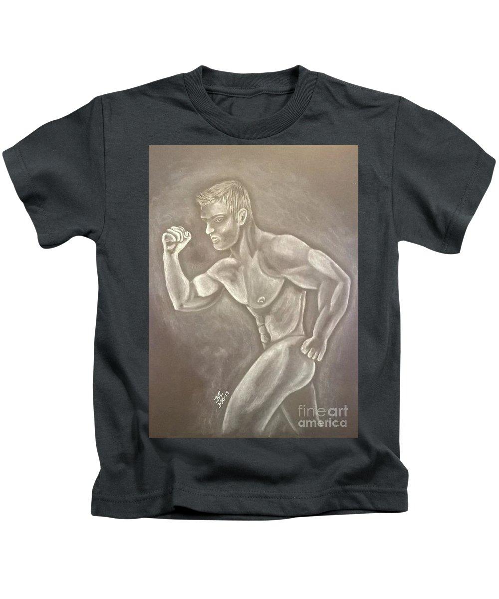 Original Kids T-Shirt featuring the drawing Male Beauty by Josetta Castner