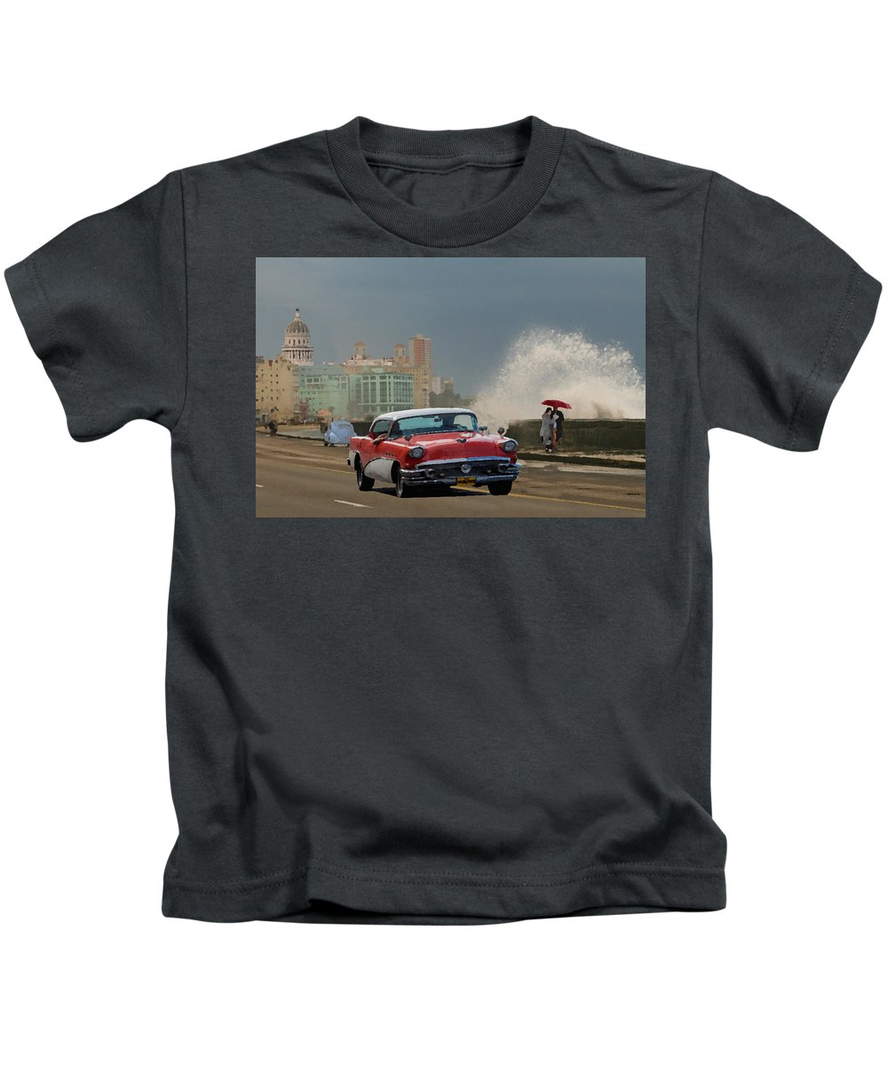 Malecon Kids T-Shirt featuring the painting Malecon Havana by Iona Nyman