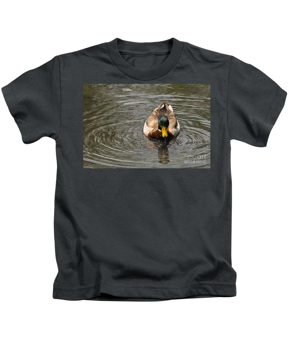 Mallard Kids T-Shirt featuring the photograph Mallard Duck Drake With Water Droplets On Bill by Merrimon Crawford