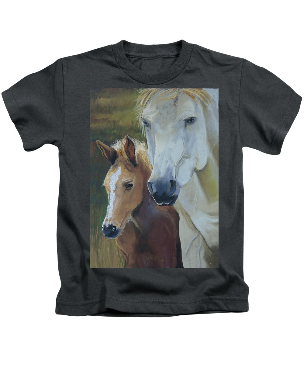 Horses Kids T-Shirt featuring the painting Mama's Boy by Heather Coen