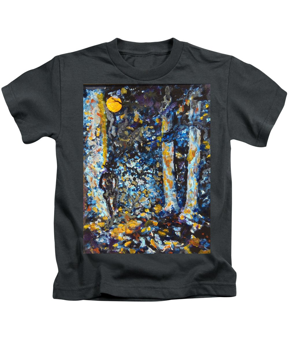 Abstract Kids T-Shirt featuring the painting Man In Moonshadow by Max Bowermeister