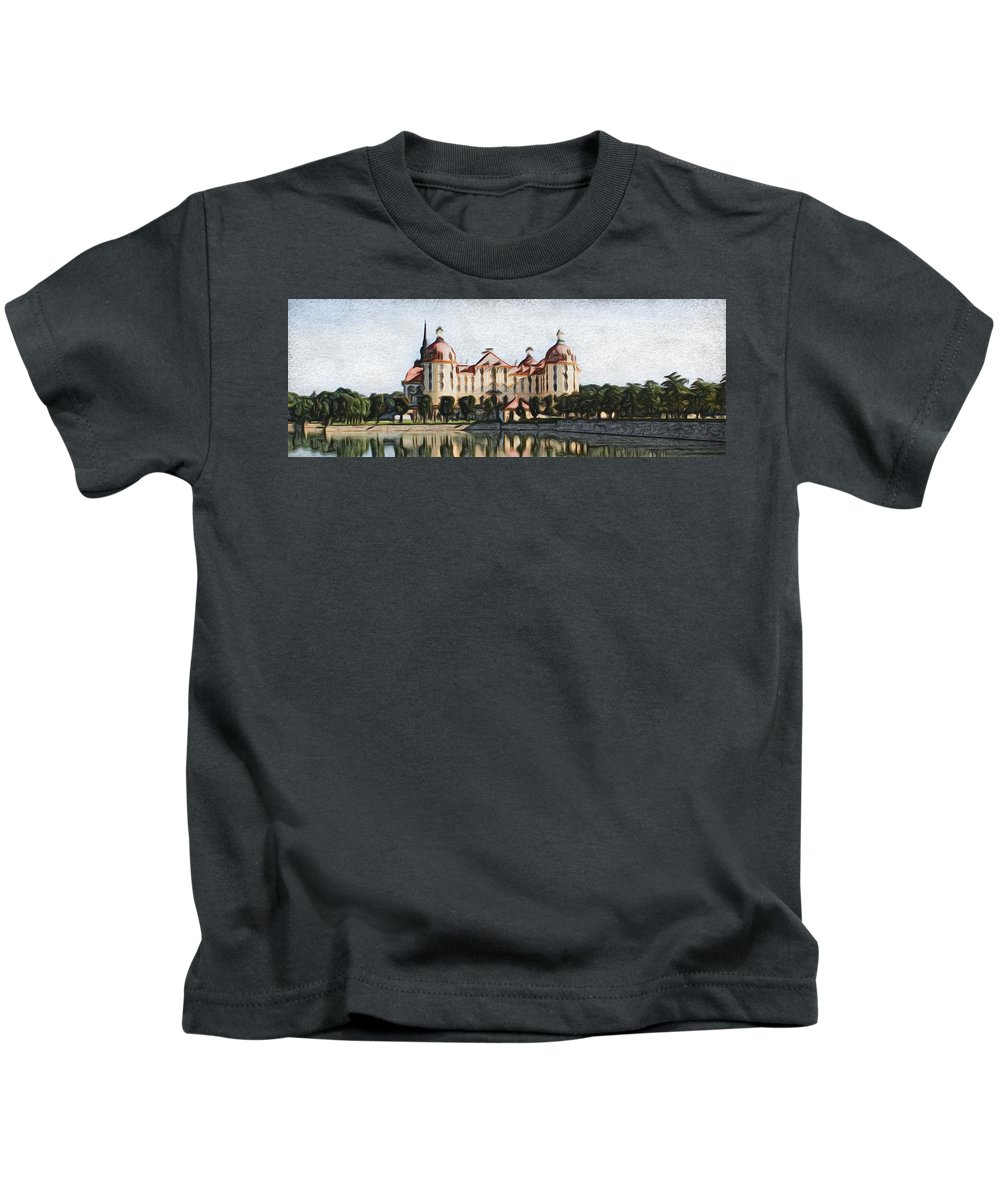Castle Kids T-Shirt featuring the painting Mancion - Id 16217-202746-3384 by S Lurk