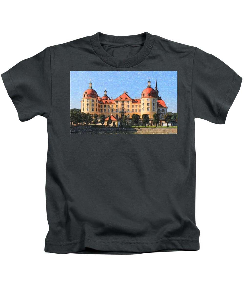 Castle Kids T-Shirt featuring the painting Mancion - Id 16217-202800-9790 by S Lurk