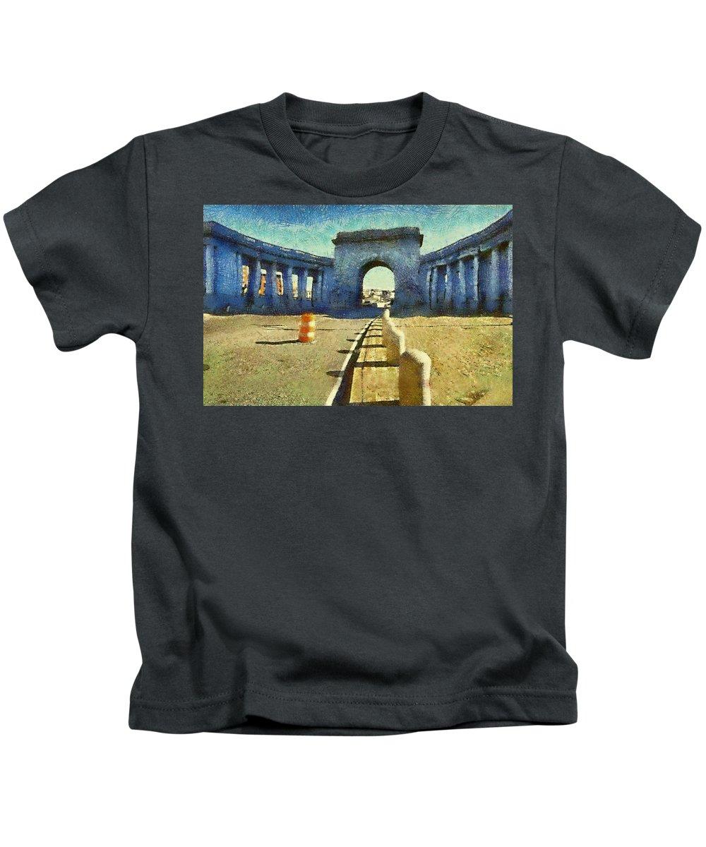 Manhattan Kids T-Shirt featuring the digital art Manhattan Bridge by Charles Chin