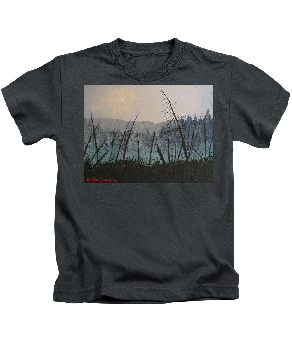 Northern Ontario Kids T-Shirt featuring the painting Manitoulin Beaver Meadow by Ian MacDonald