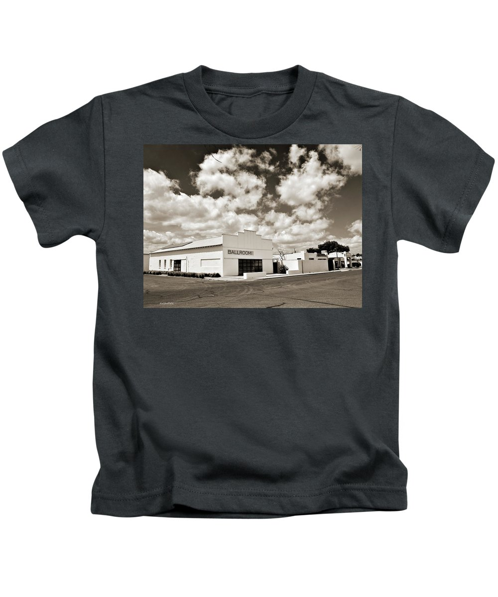 High Desert Kids T-Shirt featuring the photograph Marfa Ballroom In Sepia by Allen Sheffield