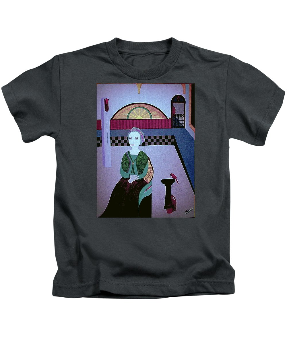 Woman Kids T-Shirt featuring the painting Maria Of Carrigafoyle by Bill OConnor