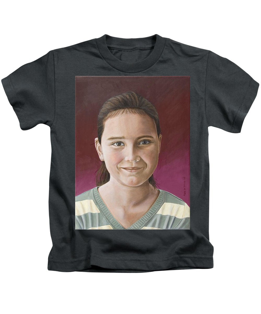 Portrait Kids T-Shirt featuring the painting Maria by Rob De Vries