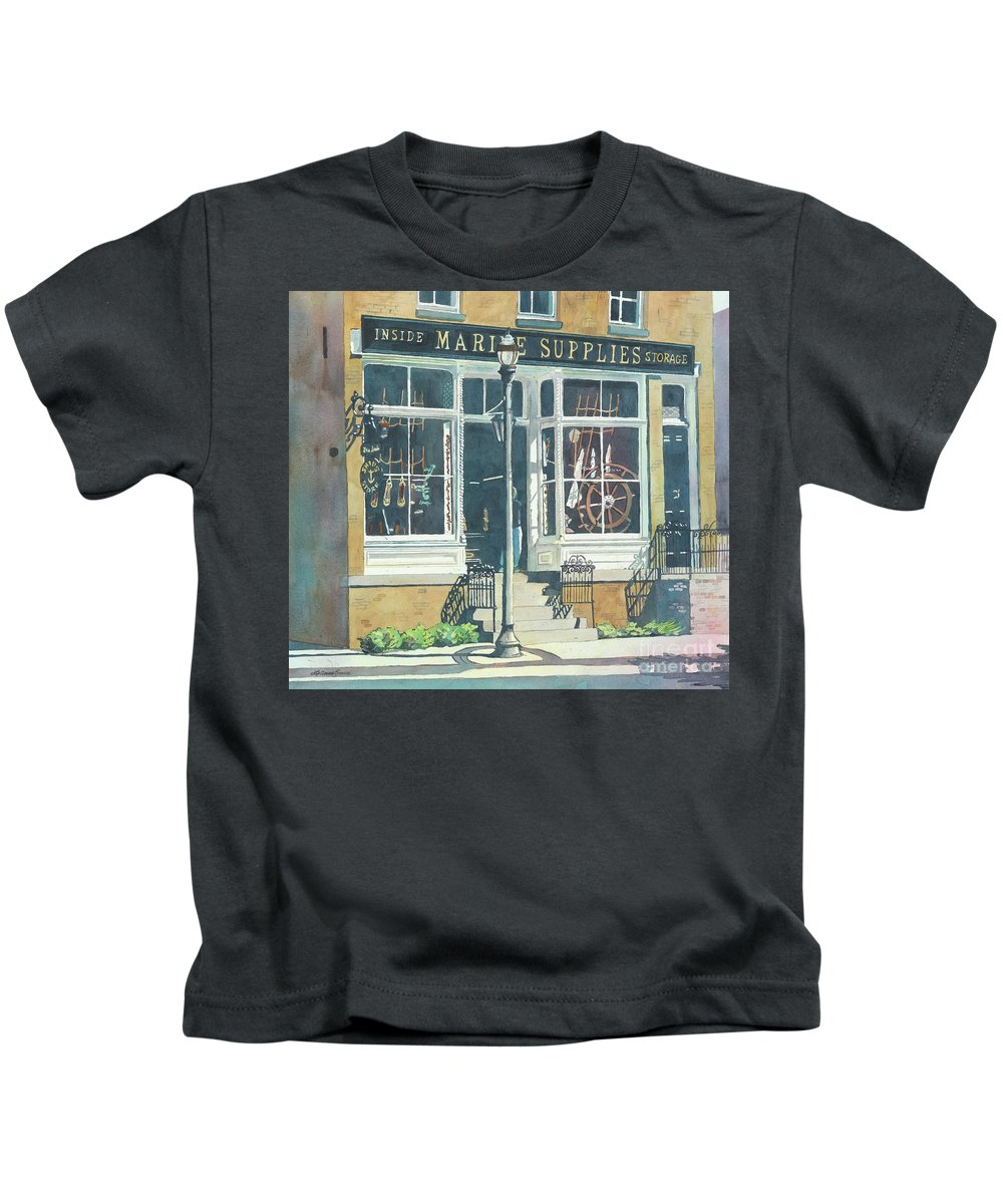 Storefronts Kids T-Shirt featuring the painting Marine Supply Store by LeAnne Sowa