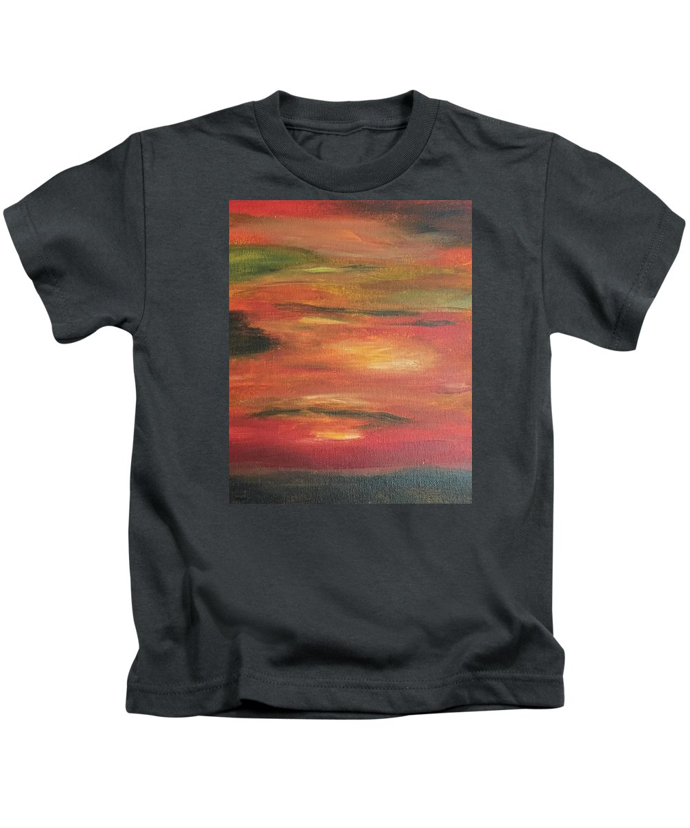Abstract Kids T-Shirt featuring the painting Mars Landing by Susi Schuele