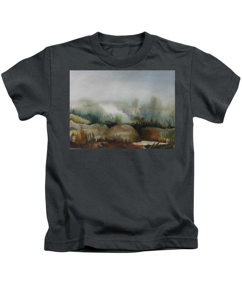 Marsh Kids T-Shirt featuring the painting Marsh by Anna Duyunova