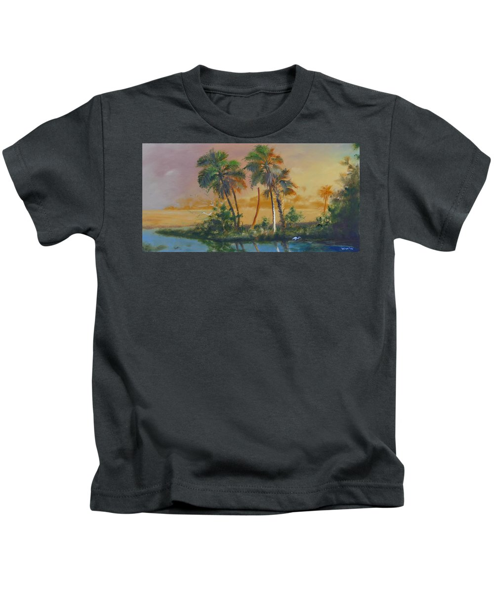Landscape Kids T-Shirt featuring the painting Marsh In The Morning by Walter Weaver