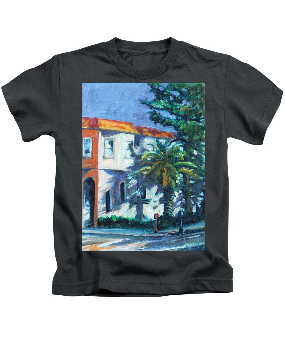 Cityscape Kids T-Shirt featuring the painting Masonic by Rick Nederlof