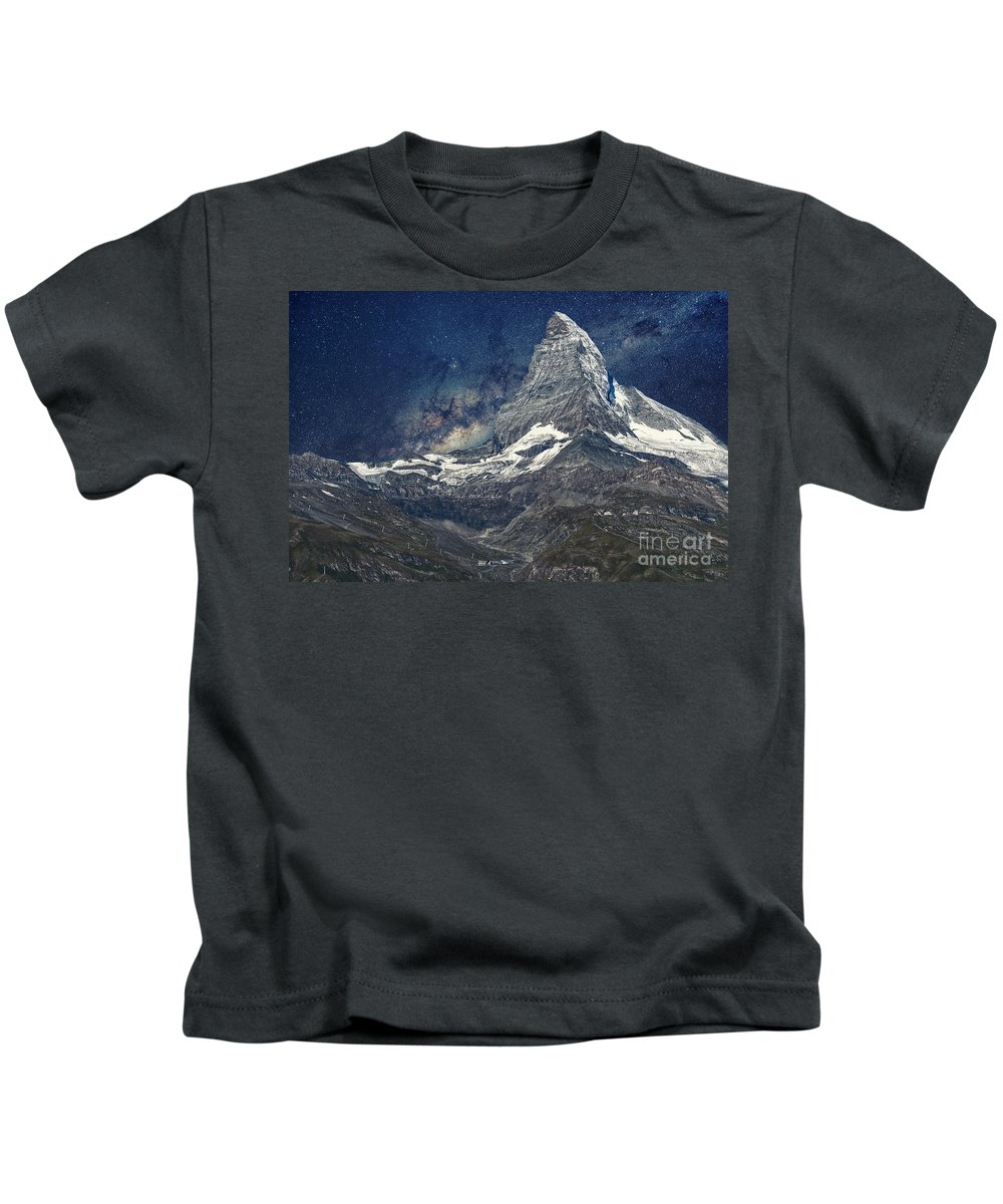 Alpine Kids T-Shirt featuring the photograph Matterhorn In Starry Night by Olga Reznikova