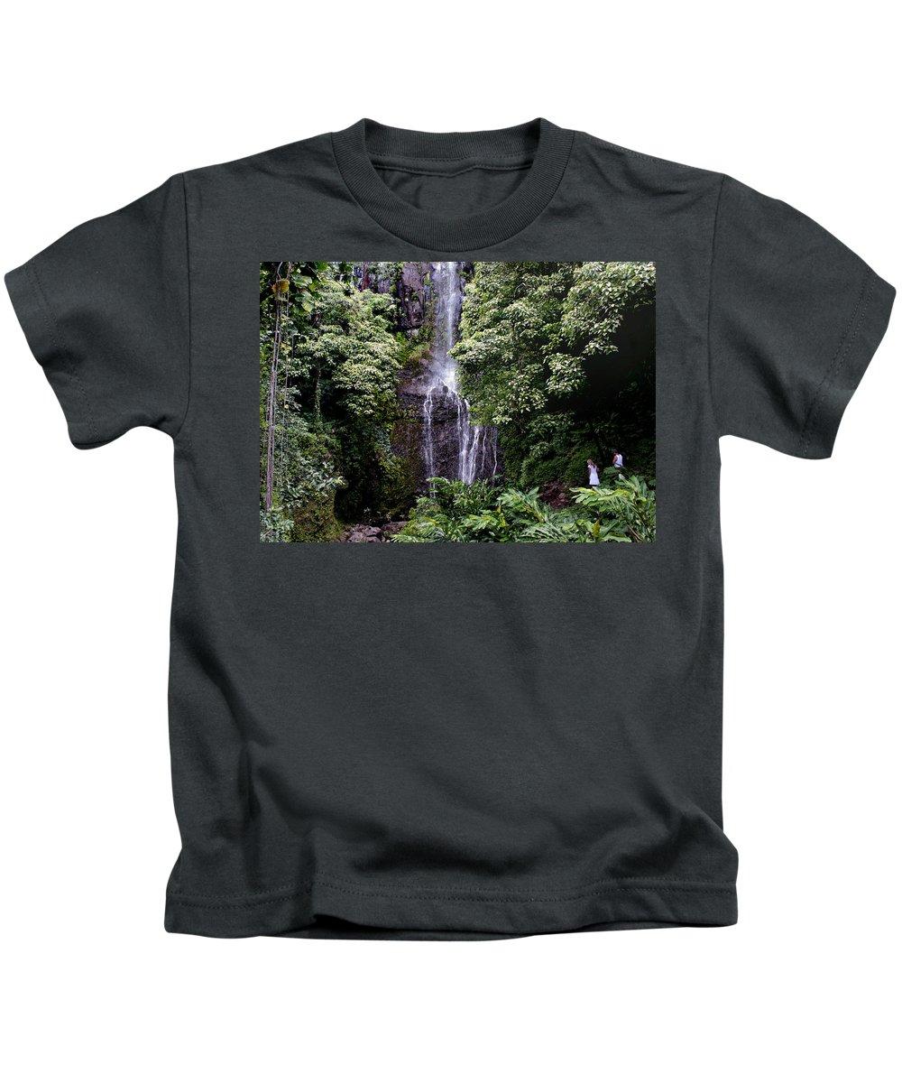 Waterfall Kids T-Shirt featuring the photograph Maui Waterfall by Bill Morson
