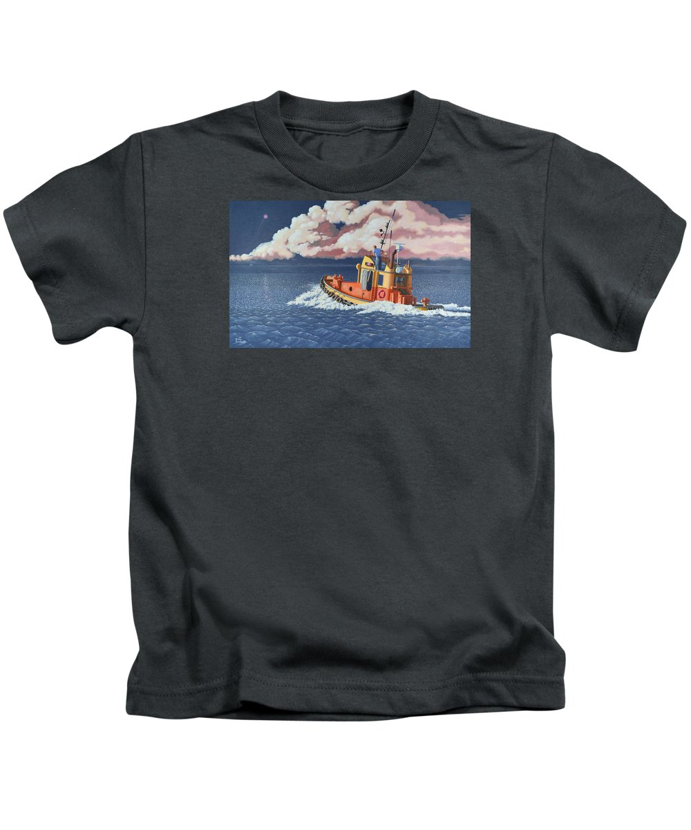 Tug Kids T-Shirt featuring the painting Mayday- I require a tug by Gary Giacomelli
