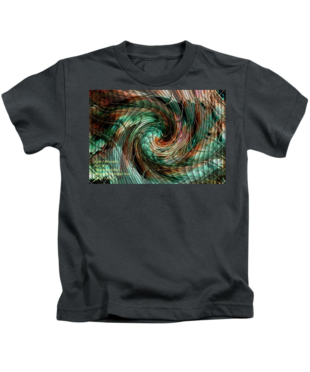 Announcement Kids T-Shirt featuring the painting Mayhem Swirl Behind The Safety Net Catus 1 No. 1 H A by Gert J Rheeders
