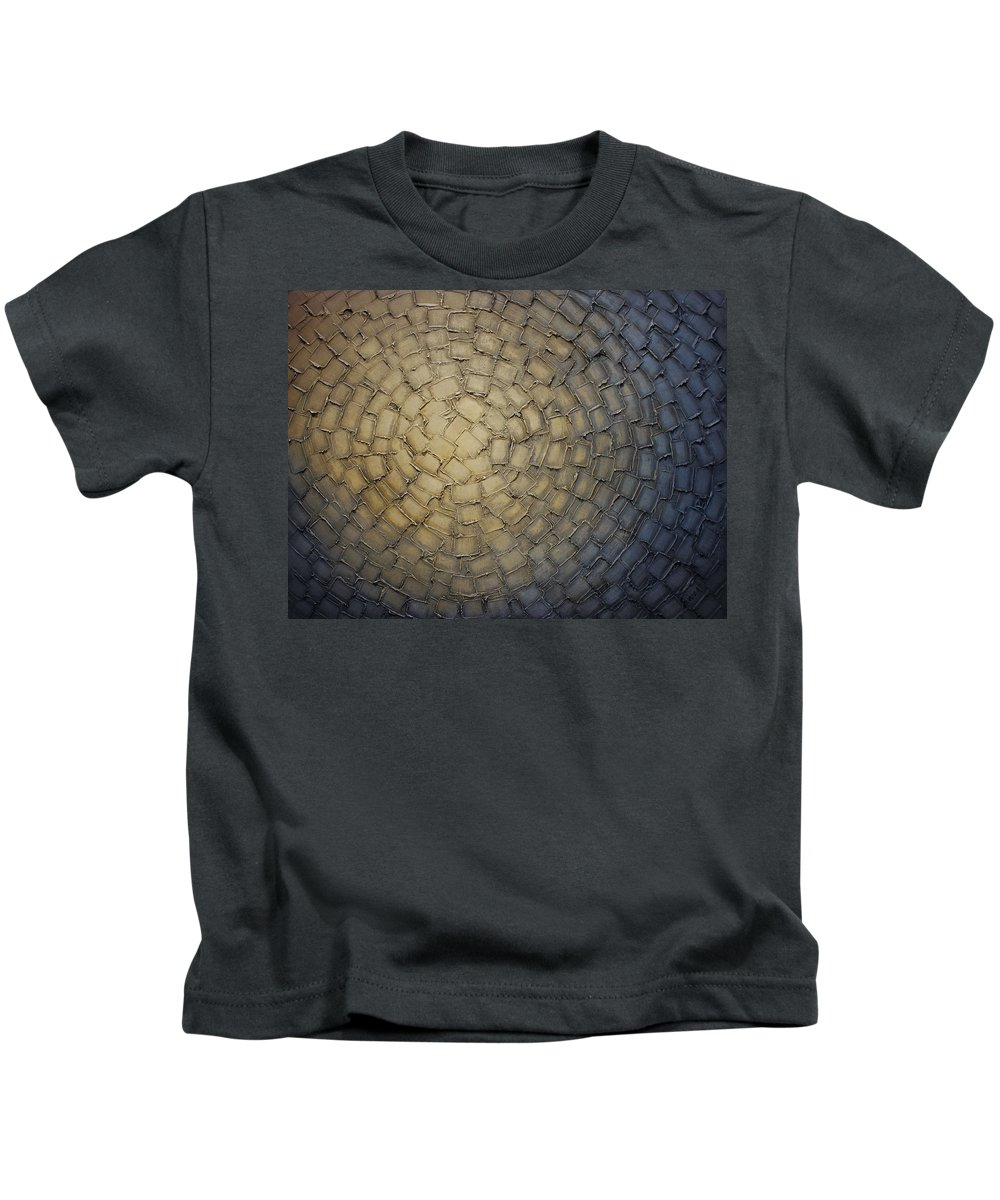 Grey Kids T-Shirt featuring the painting Maze by Susanna Shap