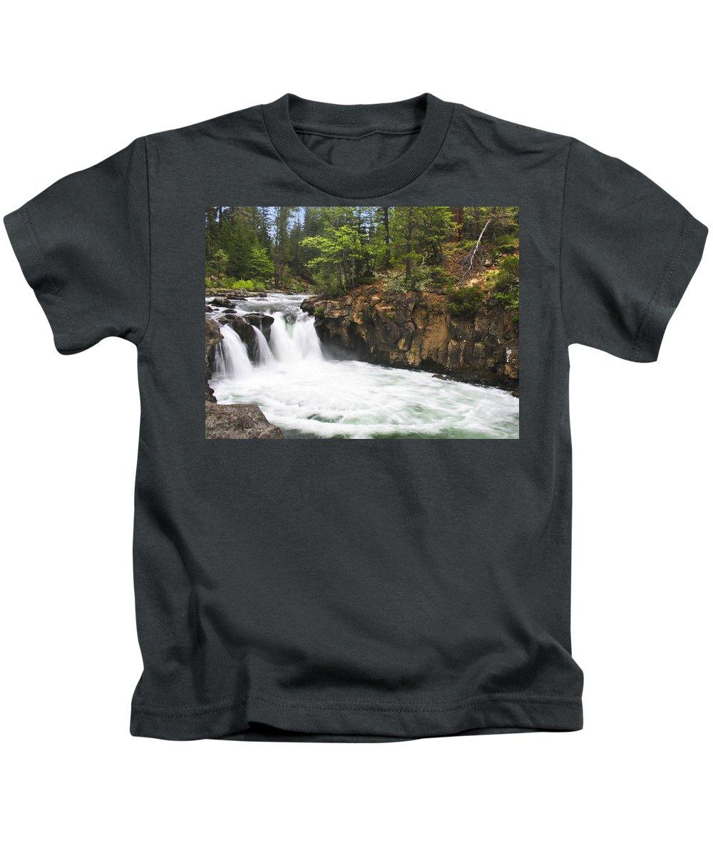 Landscape Kids T-Shirt featuring the photograph Mccloud Lowerfalls by Karen W Meyer