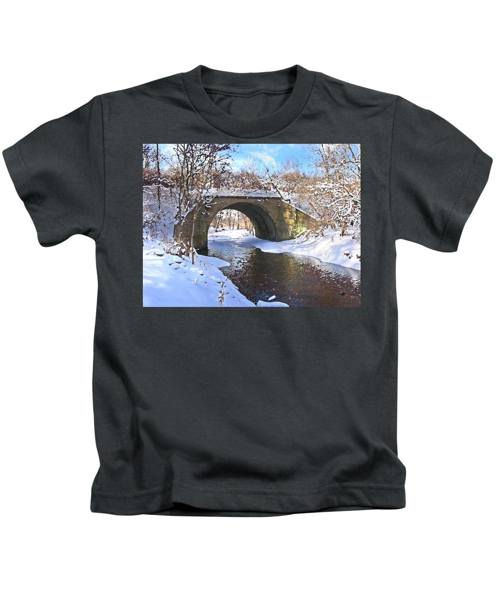 Landscape Kids T-Shirt featuring the digital art Mcgowan Bridge by Steve Karol