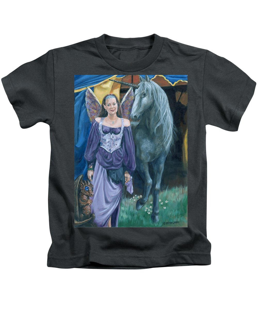Fairy Faerie Unicorn Dragon Renaissance Festival Kids T-Shirt featuring the painting Medieval Fantasy by Bryan Bustard