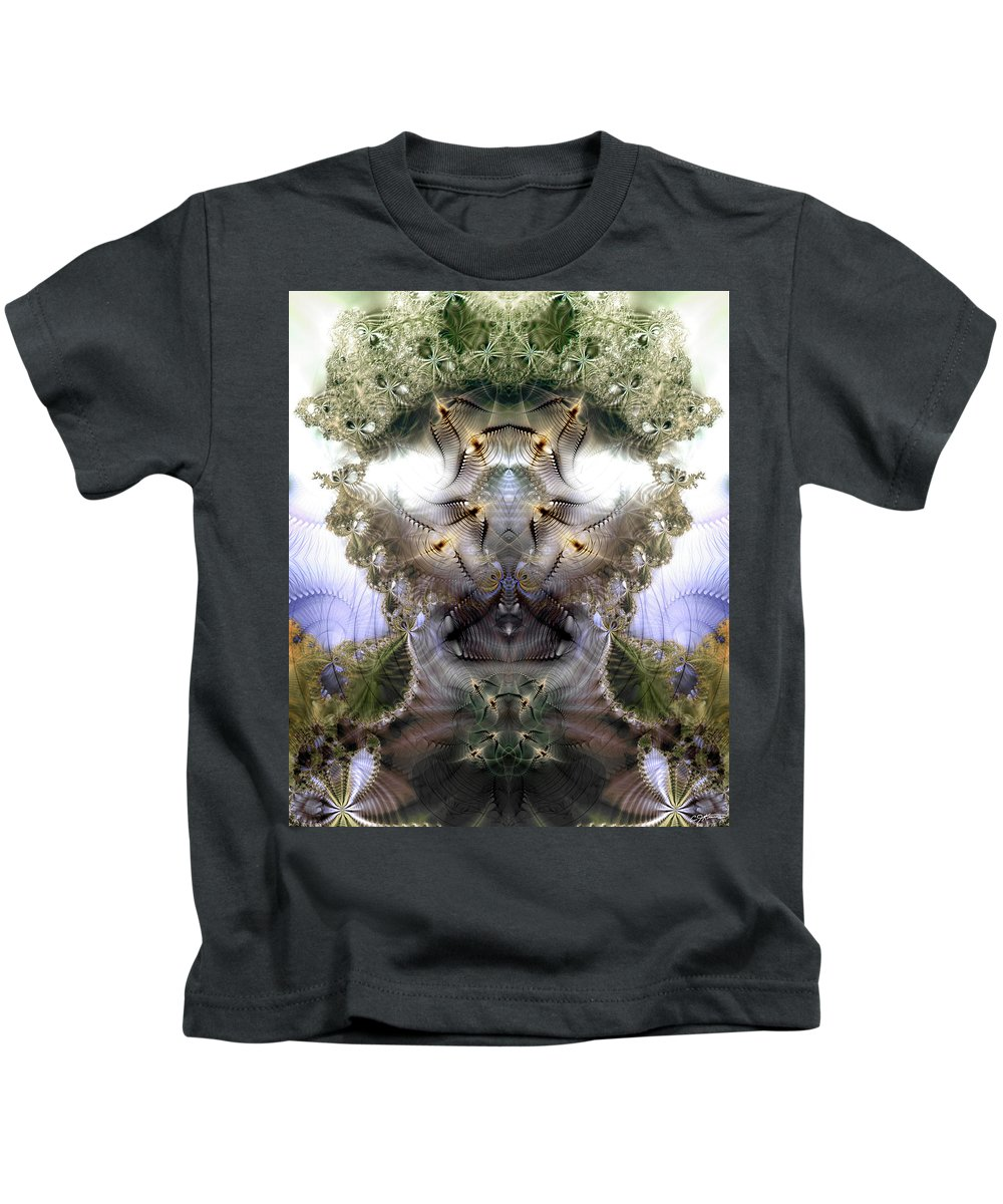 Abstract Kids T-Shirt featuring the digital art Meditative Symmetry 5 by Casey Kotas