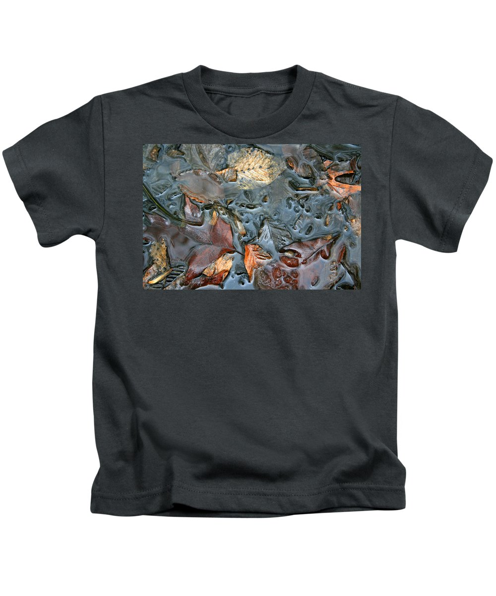 Nature Fall Leaf Leaves Colorful Water Melt Melted Reflect Reflection Outdoors Forest Woods Light Kids T-Shirt featuring the photograph Melted Colors by Andrei Shliakhau