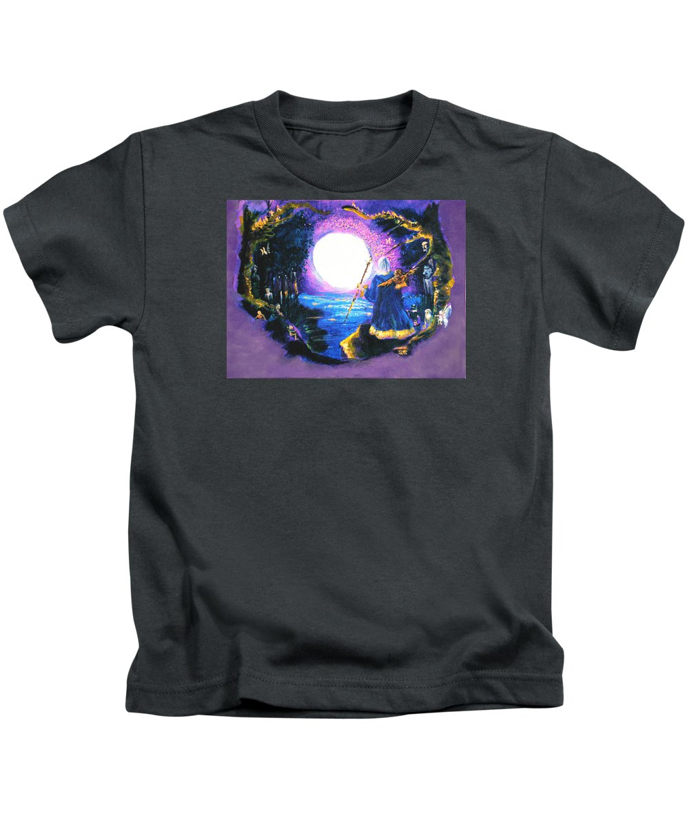 Merlin Kids T-Shirt featuring the painting Merlin's Moon by Seth Weaver