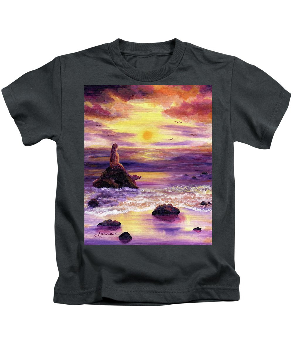 Mermaid Kids T-Shirt featuring the painting Mermaid In Purple Sunset by Laura Iverson