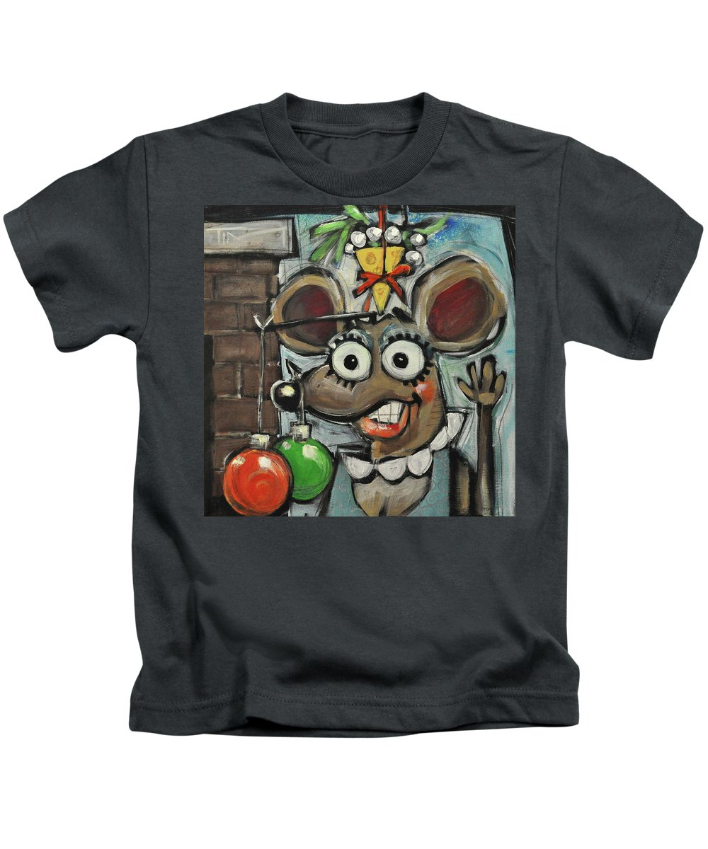 Christmas Kids T-Shirt featuring the painting Merry Chrismouse by Tim Nyberg