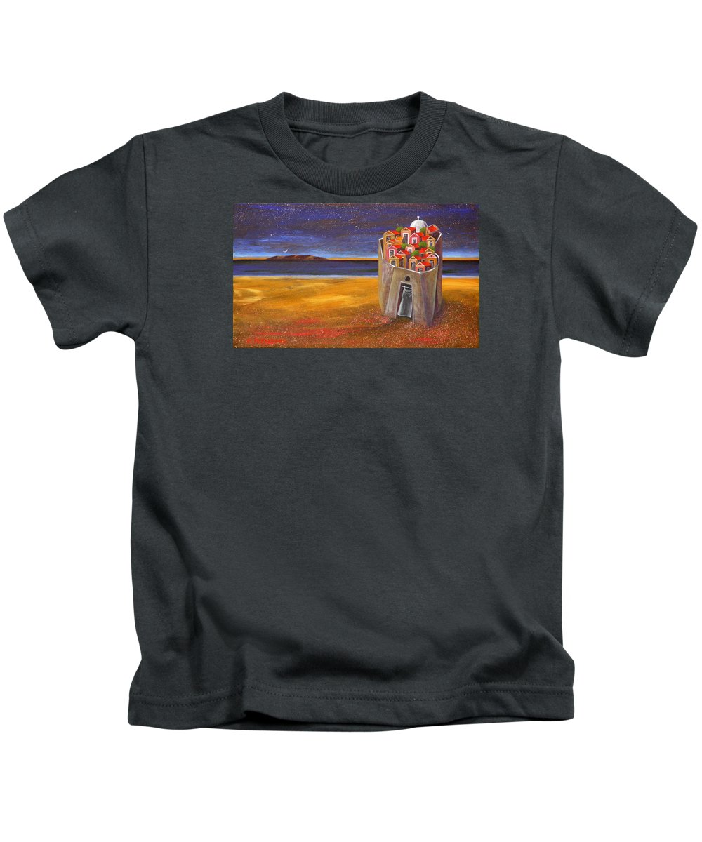 Superrealism Kids T-Shirt featuring the painting Mesi Castle Village by Dimitris Milionis