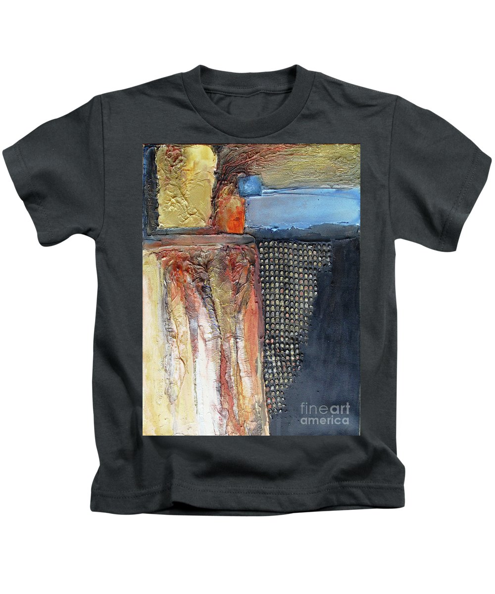 Mixed Media Kids T-Shirt featuring the mixed media Metallic Fall With Blue by Phyllis Howard