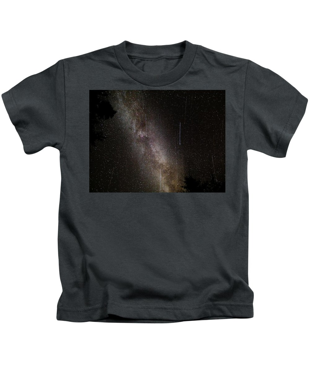 Milky Way Kids T-Shirt featuring the photograph Meteor Burst Across The Milky Way by Adam Robitaille