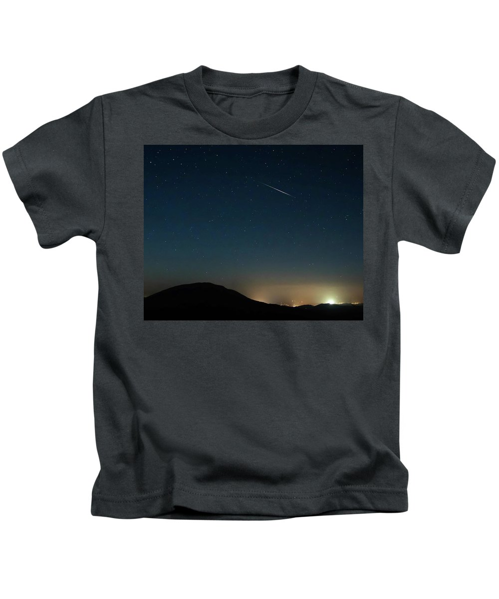 Meteor Kids T-Shirt featuring the photograph Meteror Over House Mt. by Keith Bowen