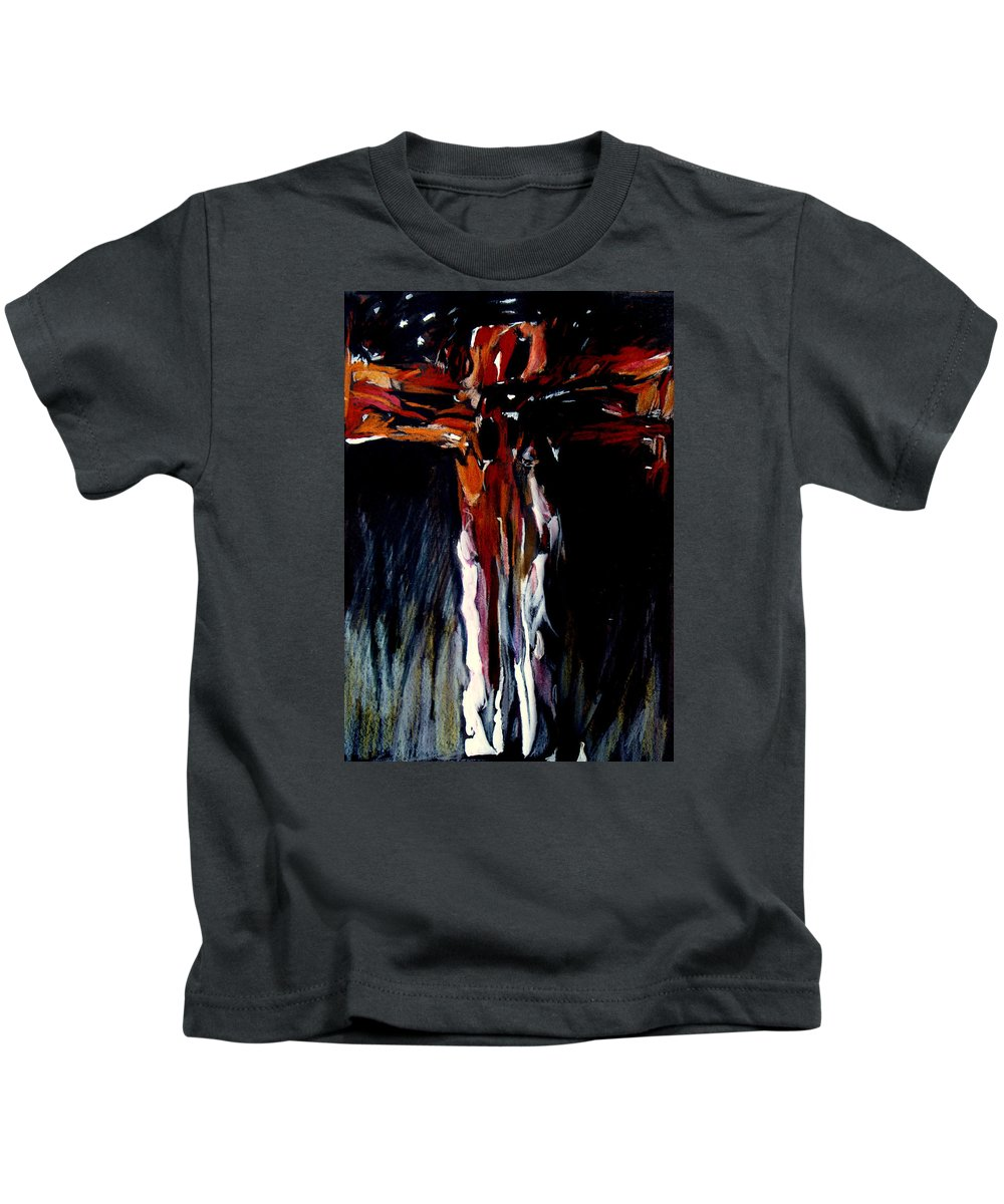 Crucifixion Kids T-Shirt featuring the painting Mhc #100109 by John Warren OAKES