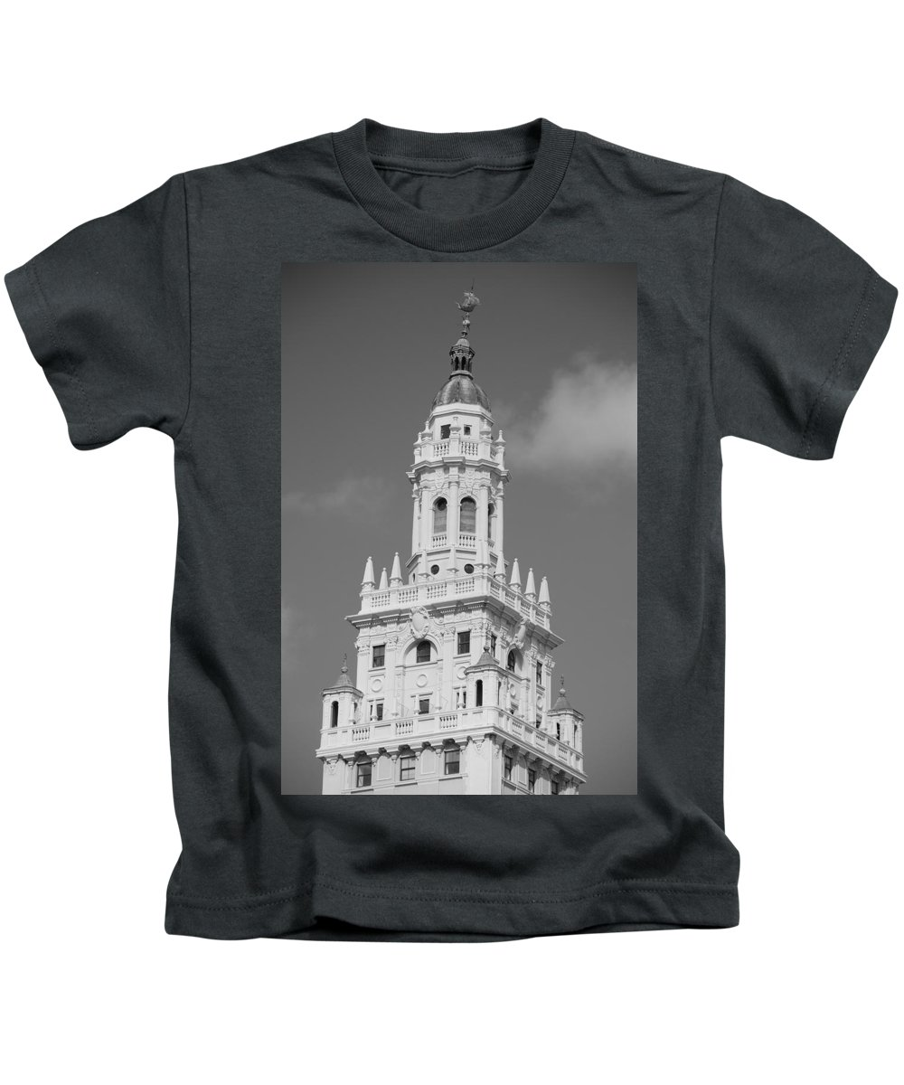 Architecture Kids T-Shirt featuring the photograph Miami Tower by Rob Hans