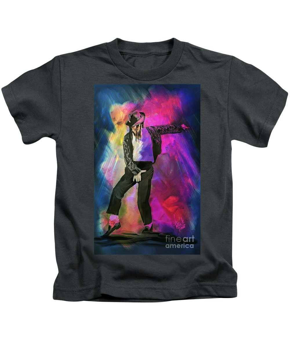 Portrait Kids T-Shirt featuring the digital art Michael Jackson by Daniele Volpicelli