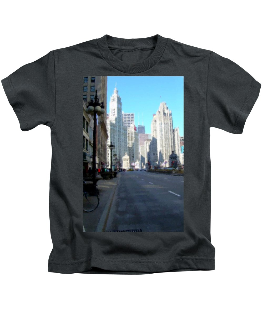 Chicago Kids T-Shirt featuring the digital art Michigan Ave Tall by Anita Burgermeister
